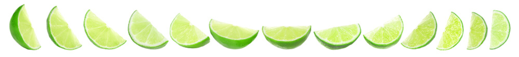 Set of juicy ripe limes on white background. Banner design