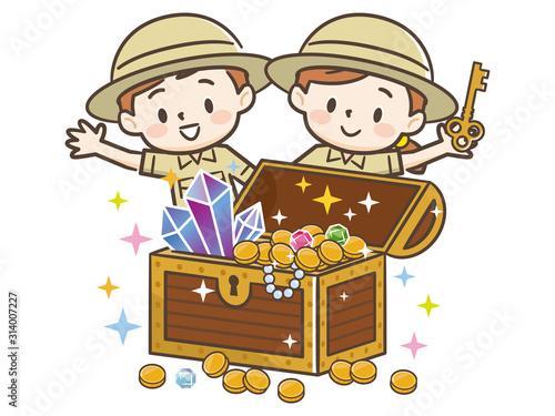 Obraz na plátně 探検隊と宝箱