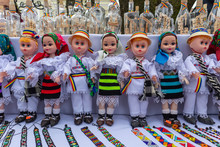 Romanian Handmade Puppets With Traditional Folk Costumes From Maramures