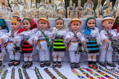 Romanian handmade puppets with traditional folk costumes from Maramures Wallpaper Mural