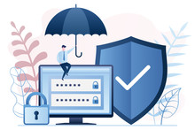 Data Protection Technology. Businessman Holding Umbrella. Monitor Screen With Login And Password. Shield And Padlock.