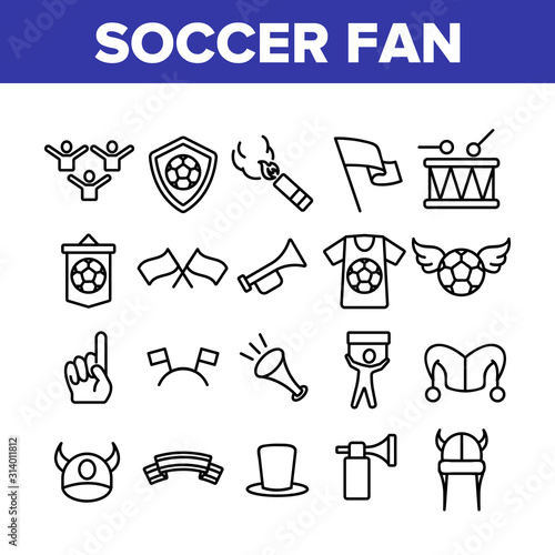 Soccer Fan Equipment Collection Icons Set Vector Thin Line Wallpaper Mural
