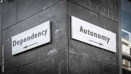Street Sign to Autonomy versus Dependency Canvas Print