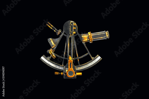 Sextant astrolabe isolated on black background Canvas Print