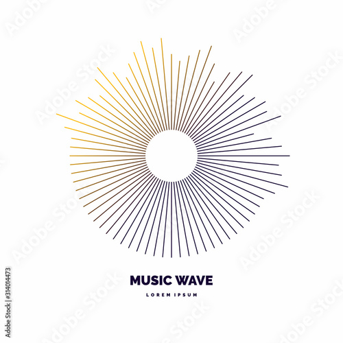 Fotografie, Obraz Modern poster of the sound wave