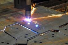 Metal Cutting. The Process Of Cutting Metal Using Plasma Cutting.