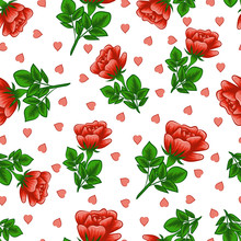 Roses And Hearts. Seamless Pattern. Valentine's Day. Color Image Of Red Roses And Pink Hearts. Design Element. Vector Image.