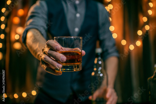 Barman pouring whiskey whiskey glass Wallpaper Mural