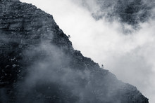 Clouds Rolling Over Table Mountain In Cape Town, Southafica. This Fenomenon Is Called Tablecloth.