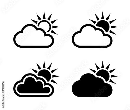 chmura i słońce ikona Fotobehang