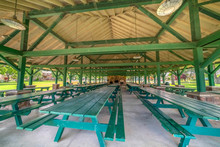 Pavilion At A Park With Tables...