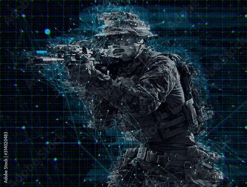 Cuadros en Lienzo  soldier aiming laseer sight optics glitch