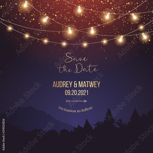 Fototapeta Magic night wedding lights vector design invitation obraz na płótnie