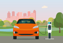 Electric CUV Car In A City. Electric Car Is Charging, Font View. Vector Flat Style Illustration