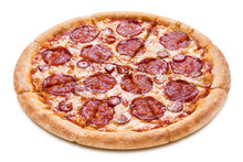 Delicious Pizza With Salami, Sausages, Mozzarella And Tomato Sauce, Isolated On White Background