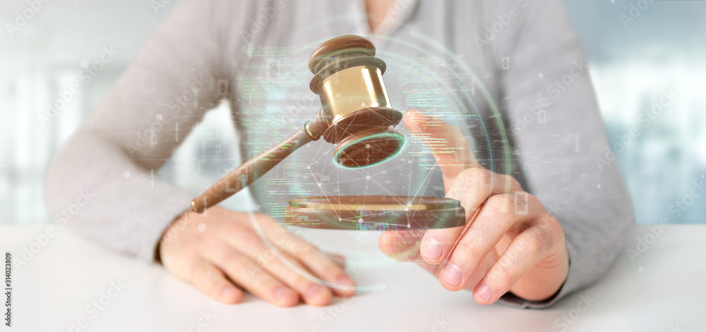 Fototapeta Businessman holding a Justice hammer and data - 3d rendering