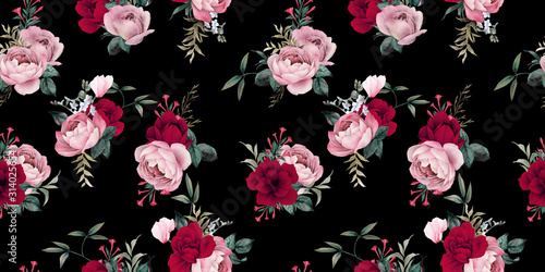 seamless-floral-pattern-with-flowers-on-dark-background-watercolor-template-design-for-textiles-interior-clothes-wallpaper-botanical-art