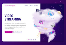 Video Streaming Isometric Landing Page, Movie And Cinema Industry Attributes Flying In Huge Thunderstorm Funnel On Night Starry Sky Background. Internet Film Service 3d Vector Illustration, Web Banner