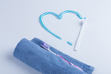Toothbrush With Colored Toothpaste, Care For The Oral Cavity And Teeth, Vector.