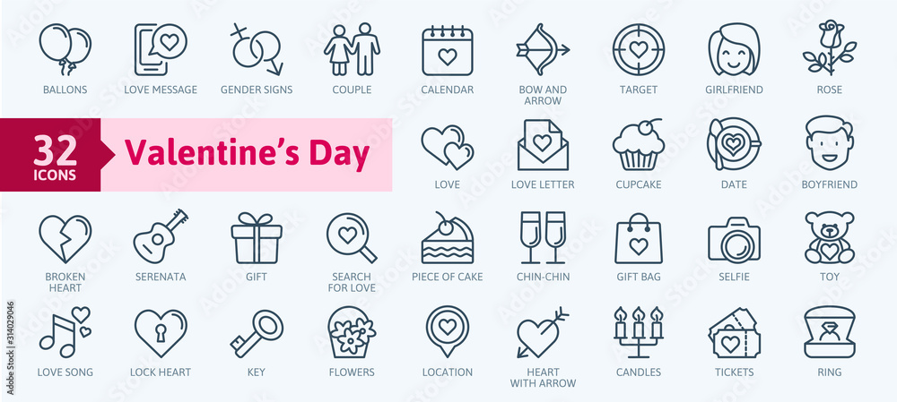 Fototapeta Valentine's Day elements - minimal thin line web icon set. Outline icons collection. Simple vector illustration.