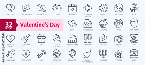 Valentine's Day elements - minimal thin line web icon set. Outline icons collection. Simple vector illustration. - 314029046