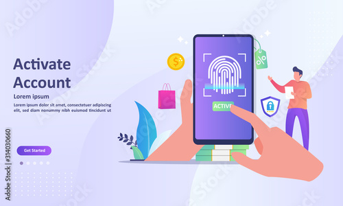 Photo Activation account with fingerprint recognition technology, Touch ID security system, access with biometric identification, Suitable for web landing page, ui, mobile app, banner template