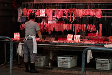 Butcher Selling Meat On Street...
