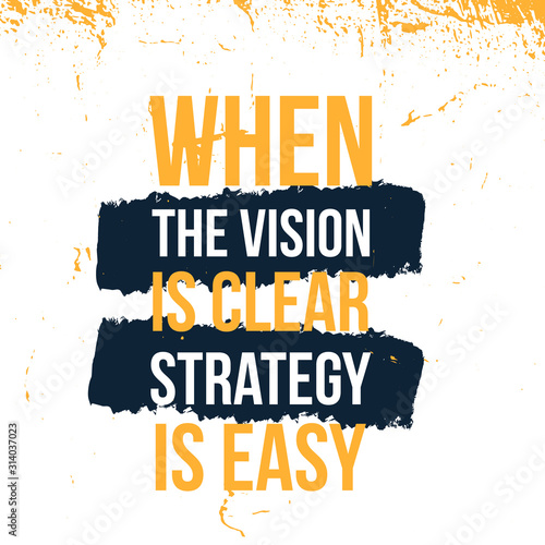 Cuadros en Lienzo When the Vision is Clear Strategy is easy typography quote poster, success inspi