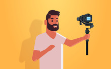 Man Blogger Holding Stabilizer With Camera Live Streaming Broadcast Social Media Networking Concept Streamer Recording Video Taking Selfie Photo Portrait Horizontal Vector Illustration