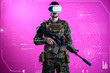 canvas print picture soldier using  virtual reality headset
