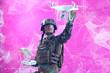 canvas print picture - soldier drone technician glitch
