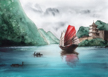 Watercolor Picture Of A Chine...