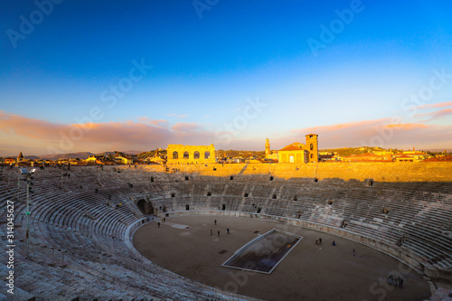 sunset over arena in Verona Canvas Print
