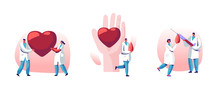 Blood Donation, Heart Transplantation Set. Doctor Characters In Medical Uniform Make Lifeblood Transfusion From Human Hand In Donation Laboratory, Healthcare Charity. Cartoon Flat Vector Illustration