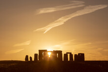 Summer Solstice Sunset At Stonehenge, UK
