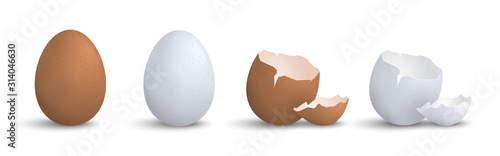 Fotografia Set of 3d realistic eggs isolated eps10 vector elements, chicken egg, cracked eg