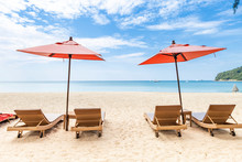 Beautiful Beach, Design Beach Chair With Orange Umbrella On The Beach, Holiday Time, Vacation Destination, Summer Break