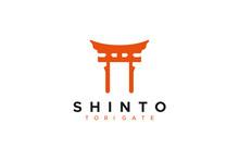Religious Symbol Shinto Tori Gate Isolated On White Background. Flat Vector Icon Design Template Element