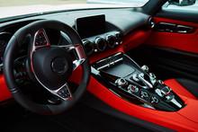 Luxury Car Interior. Steering ...