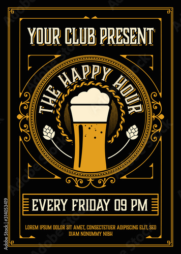 Fotografiet Vintage Happy Hour Poster Layout