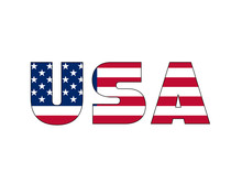 3D USA Text With American Flag Inside The Text. Vector Illustration On White Background. USA Flag In Text. American Flag In Letters. National Emblem. Patriotic Illustration.