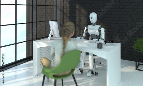The robot is interviewing a woman in a modern office Wallpaper Mural