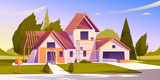 Fototapeta Miasto - Unfinished house construction. Vector cartoon illustration of construction site, incomplete building of garage and home with wooden frame of roof beams
