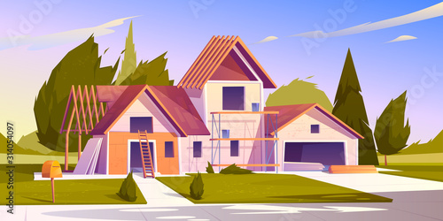 Fototapeta Unfinished house construction. Vector cartoon illustration of construction site, incomplete building of garage and home with wooden frame of roof beams obraz
