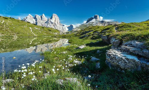 Wall mural - Awesome Nature Landscape. Alpine lake with crystal clear water and frash grass and flowers. Perfect Blue sky and mountains peaks. Incredible view of Dolomites Alps. Tre Cime di Lavaredo National park