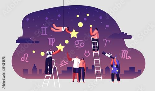 Astrologer Watching at Night Starry Sky through Telescope Wallpaper Mural