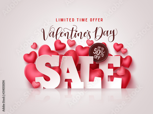 Valentines day sale vector banner. Valentines day sale 3D text with heart shapes elements in white background for discount promotion. Vector illustration. - 314058014