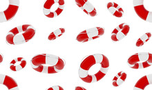 Life Buoy Seamless Pattern. 3d Render Illustration. Equipment For Lifeguards. Element For Lifeguard Day Poster Wallpaper. Lifebuoy Isolated On White Background. Wrap With Red And White Rubber Ring