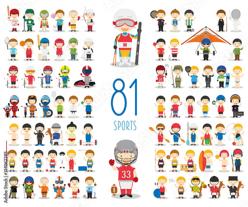 Set of 81 different sports in cartoon style. Kids characters vector illustration