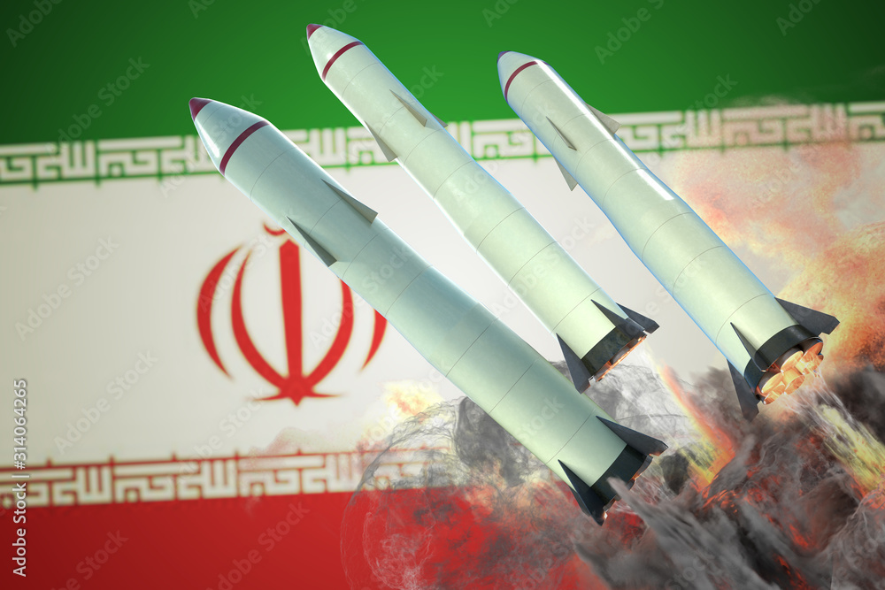 Fototapeta Launch of missiles. Iran flag in background. 3D rendered illustration.